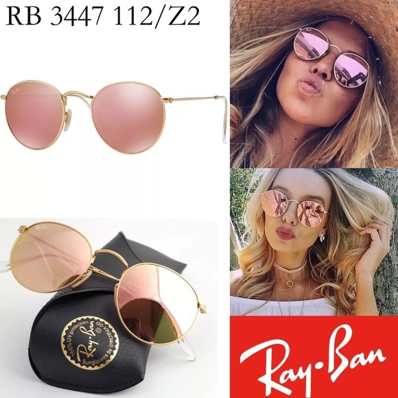 8e66fc0f3ec 100%AUTHENTIC ray-ban round metal pink flash lens